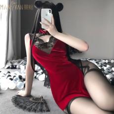 【天猫】曼烟性感蕾丝透视包臀短裙复古旗袍网红风9749