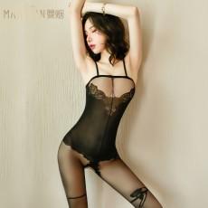【天猫】曼烟女式性感轻熟吊带玫瑰网衣连身袜7124