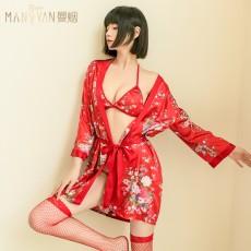 【天猫】曼烟红色性感牡丹三点浴袍系带睡裙三件套9813