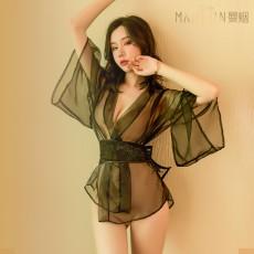 【天猫】曼烟性感刺绣网纱蕾丝透视浴袍蝴蝶结日系和服套装9559