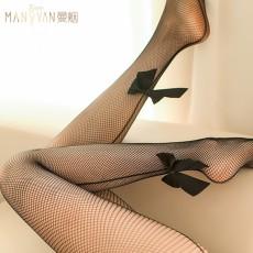 【天猫】曼烟透视蝴蝶结网袜黑色连裤袜情趣丝袜7133