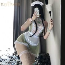 【天猫】网红风曼烟性感透视蕾丝吊带女仆装睡裙1604