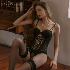 【天猫】曼烟欧美性感蕾丝绑带束身马甲吊袜带吊带连体衣9870