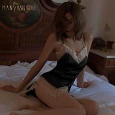 【天猫】曼烟轻奢唯爱之夜性感吊带蕾丝睡裙居家服9841