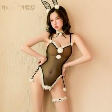 【天猫】曼烟性感透视可爱吊带连体衣萌兔女郎9557