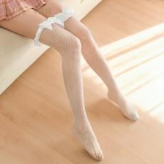 【天猫】曼烟性感美腿宽边蝴蝶结木耳花边网袜长筒袜7131