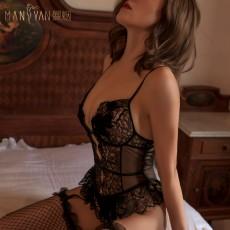 【天猫】曼烟轻奢性感蕾丝吊带紧身连体衣睡裙9839