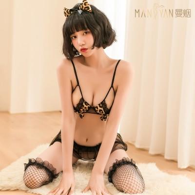 【天猫】曼烟性感蕾丝豹纹蝴蝶结三点小野豹猫女9846