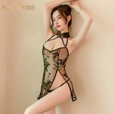 【天猫】曼烟性感网纱盘扣刺绣立领交叉绑带旗袍9587