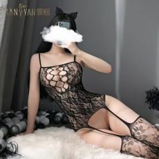 【天猫】网红风曼烟性感透视镂空吊带连身体袜开档免脱网红风7112