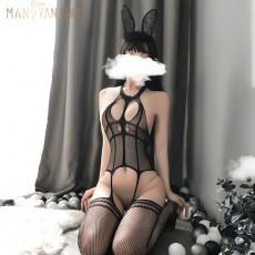 【天猫】网红风曼烟性感情趣内衣镂空露背情趣丝袜开裆连体丝袜连身网眼袜1268