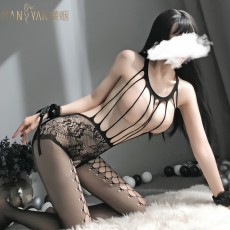 【天猫】网红风曼烟女式性感镂空吊带开档连身袜网衣7121