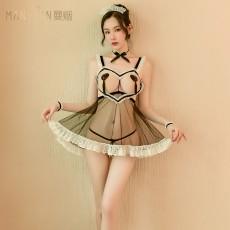 【天猫】曼烟性感蕾丝网纱镂空系带透视吊带女仆装9609