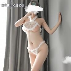 【天猫】网红风曼烟性感透视刺绣亮片花边挂脖肚兜9814