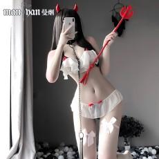 【天猫】网红风曼烟透视性感小恶魔三点式套装制服诱惑1783