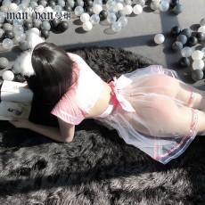 【天猫】网红风曼烟性感透视柔纱水手领可爱学生蓬蓬裙9934