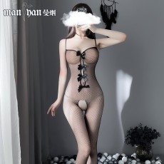【天猫】网红风曼烟性感透视吊带蝴蝶结连身袜网袜丝袜7927