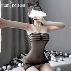 【天猫】网红风曼烟性感透视条纹抹胸包臀紧身网衣连身袜7966