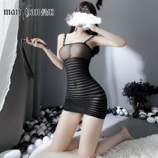 【天猫】网红风曼烟性感透视吊带紧身包臀条纹秘书裙连身袜网衣7940
