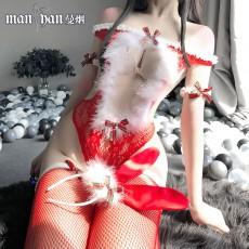 【天猫】网红风曼烟圣诞连体兔女郎制服网衣连身袜9938