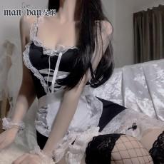 【天猫】网红风曼烟蕾丝束身绑带女仆装吊带睡裙制服套装9948