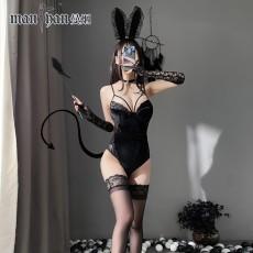 【天猫】网红风曼烟性感蕾丝钢托棉垫吊带细绒兔女郎开裆9949