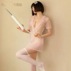 【天猫】曼烟性感透视薄纱交领深V粉嫩护士装浴袍制服套装9888
