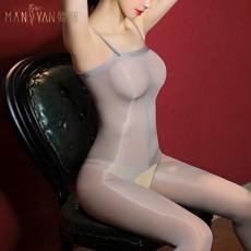 【天猫】曼烟透视油亮高光吊带抹胸开裆连身袜情趣丝袜7147