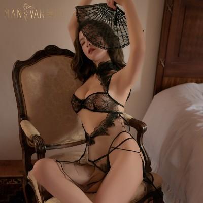 【天猫】曼烟性感V型镂空收腰复古立领系带高衩旗袍睡裙制服9833