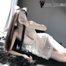 【天猫】网红风曼烟后开衩透明网纱蕾丝波点挂脖蕾丝小睡裙套装9944