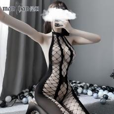【天猫】曼烟性感渔网挂脖镂空网衣连身袜情趣丝袜开档免脱9318