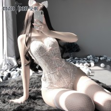 【天猫】网红风曼烟性感透视镂空蕾丝紧身吊带连体衣制服诱惑9943
