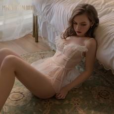 【天猫】曼烟性感蕾丝透视系带柔纱仙女蓬蓬裙吊带紧身连体衣9918
