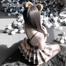 【天猫】曼烟性感乖乖熊学生装三点式网格百褶裙套装9851