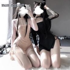 【天猫】网红风曼烟女式性感绑带镂空透视拼接旗袍包臀秘书连衣裙9463