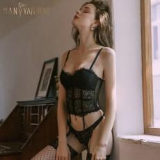 【天猫】曼烟情趣内衣女式性感欧美透视蕾丝紧身吊带分体马甲两件套装9869