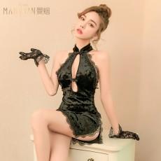 【天猫】曼烟性感镂空波光丝绒旗袍高开衩制服9956