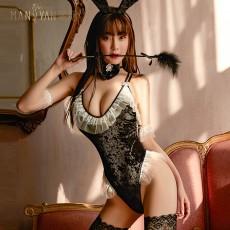 【天猫】曼烟蕾丝网俏皮紧身兔女郎制服套装开档免脱9974