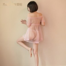 【天猫】曼烟性感深V透视柔纱仙女短袖一字肩睡裙套装9898