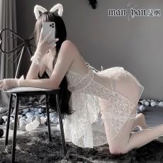 【天猫】网红风曼烟情趣内衣性感透视网纱吊带蕾丝木耳花边绑带短裙睡裙9913
