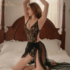 【天猫】曼烟情趣内衣性感蕾丝吊带紧身露背连体衣纱裙制服睡裙套装9104