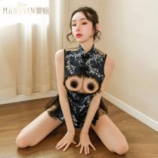 【天猫】曼烟情趣内衣性感蕾丝木耳花边复古旗袍立领镂空旗袍9326