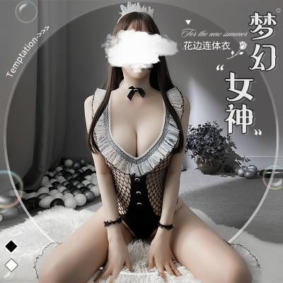 【天猫】曼烟性感透视镂空露肩连体网衣制服诱惑套装9807