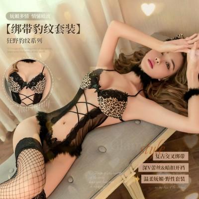 【天猫】曼烟情趣内衣性感镂空绑带豹纹野性猫女郎连体衣9955