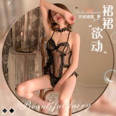 【天猫】曼烟性感透视镂空蕾丝吊带波点柔纱小短裙睡裙套装9881