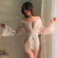 【天猫】曼烟性感透视流光缎面羽冠蕾丝刺绣孔雀浴袍睡衣裙9574