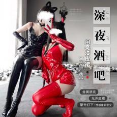 【天猫】曼烟情趣内衣性感吊带漆皮裙紧身包臀连体衣夜店装9983