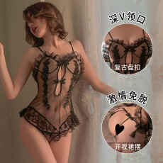 【天猫】曼烟情趣内衣性感蕾丝透视吊带网纱睡裙9882