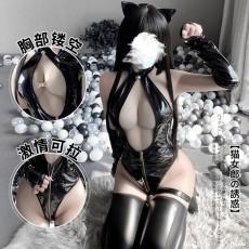 【天猫】曼烟情趣内衣性感挂脖镂空连体衣猫女郎漆皮套装9997