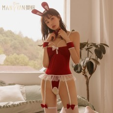 【天猫】曼烟情趣内衣性感镂空吊带丝绒连体衣开裆兔女郎1758